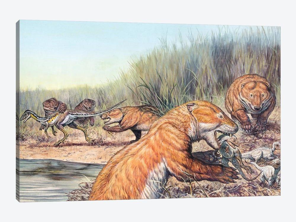 Repenomamus Mammals Hunting For Prey by Mark Hallett 1-piece Canvas Print