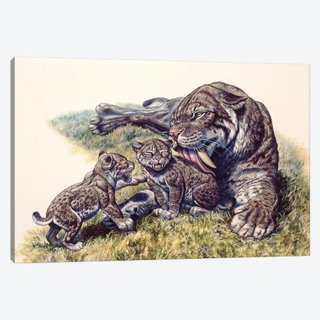 Smilodon Sabertooth Mother And Her Cubs Canvas Print #TRK2678} by Mark Hallett Art Print