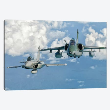 A Dassault Rafale Of The French Air Force Flys Alongside An Embraer A-1B Of The Brazilian Air Force Canvas Print #TRK267} by Giovanni Colla Canvas Art