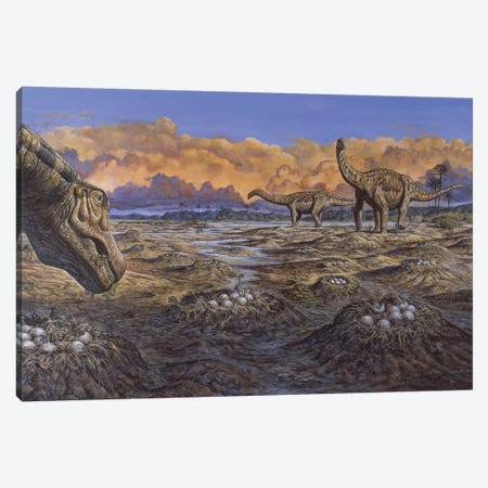 Titanosaur Nesting Site, Mid-Cretaceous Period Of South America Canvas Print #TRK2680} by Mark Hallett Canvas Wall Art