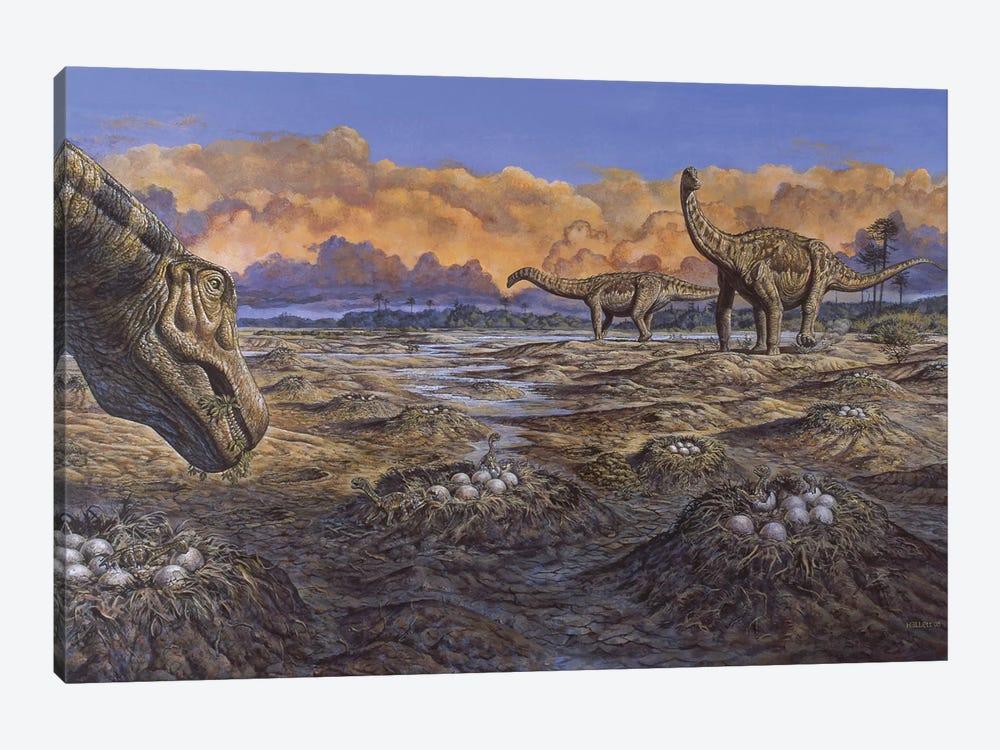 Titanosaur Nesting Site, Mid-Cretaceous Period Of South America by Mark Hallett 1-piece Canvas Print