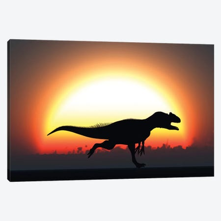 A Silhouetted Allosaurus Sprinting Against A Setting Sun At The End Of A Jurassic Day Canvas Print #TRK2683} by Mark Stevenson Canvas Wall Art