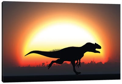 A Silhouetted Allosaurus Sprinting Against A Setting Sun At The End Of A Jurassic Day Canvas Art Print