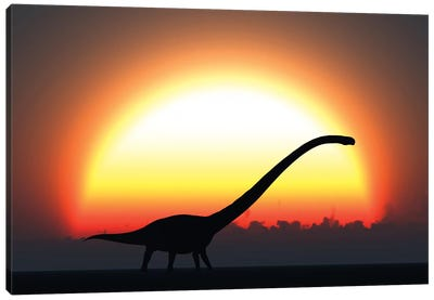 A Silhouetted Omeisaurus Walks Pass The Rising Sun At The Start Of A New Day Canvas Art Print