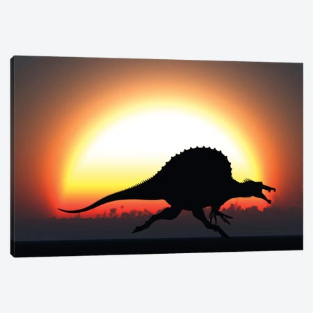 A Silhouetted Spinosaurus Sprinting Against A Setting Sun At The End Of A Jurassic Day Canvas Print #TRK2686} by Mark Stevenson Canvas Art Print