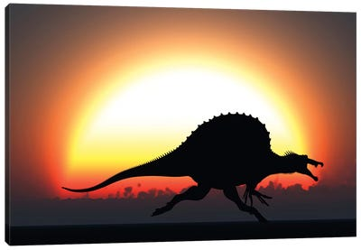 A Silhouetted Spinosaurus Sprinting Against A Setting Sun At The End Of A Jurassic Day Canvas Art Print