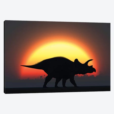 A Silhouetted Triceratops Strolling Past A Setting Sun At The End Of A Prehistoric Day Canvas Print #TRK2687} by Mark Stevenson Art Print