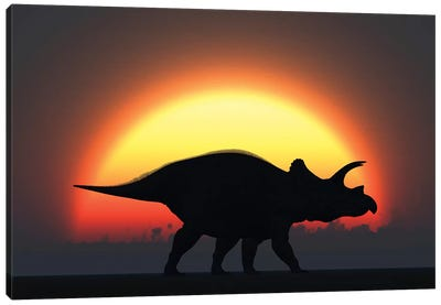 A Silhouetted Triceratops Strolling Past A Setting Sun At The End Of A Prehistoric Day Canvas Art Print