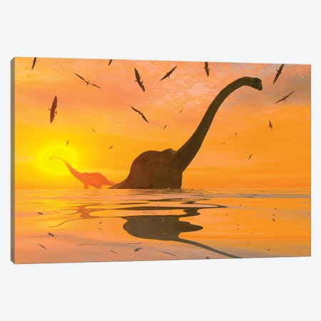 Diplodocus Dinosaurs Bathe In A Large Body Of Water Canvas Print #TRK2689} by Mark Stevenson Canvas Artwork