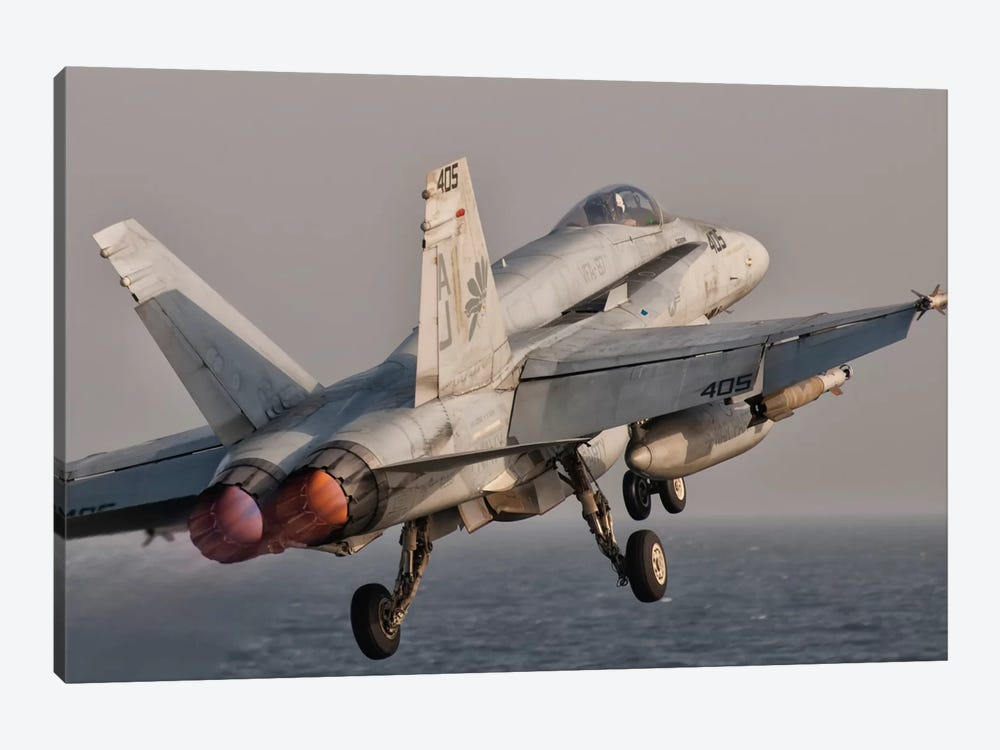 A F/A-18C Hornet Taking Off From USS George H.W. Bush by Giovanni Colla 1-piece Canvas Art