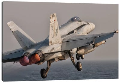 A F/A-18C Hornet Taking Off From USS George H.W. Bush Canvas Art Print
