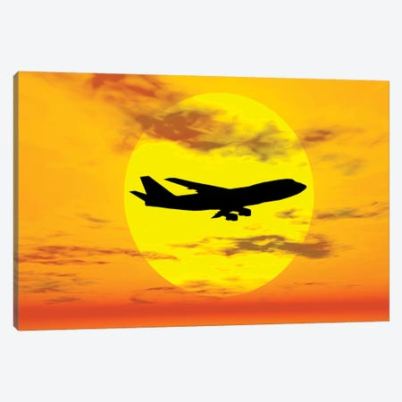 Silhouette Of A Boeing 747 Jet Canvas Print #TRK2691} by Mark Stevenson Canvas Art Print