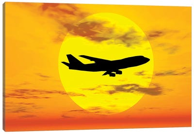 Silhouette Of A Boeing 747 Jet Canvas Art Print