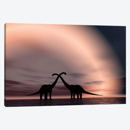 The Silhouetted Forms Of A Pair Of Courting Sauropod Dinosaurs Canvas Print #TRK2692} by Mark Stevenson Canvas Print