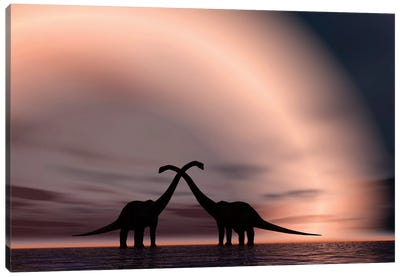 The Silhouetted Forms Of A Pair Of Courting Sauropod Dinosaurs Canvas Art Print