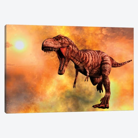 Tyrannosaurus Rex Running From A Deadly Fire Storm Canvas Print #TRK2693} by Mark Stevenson Canvas Art Print
