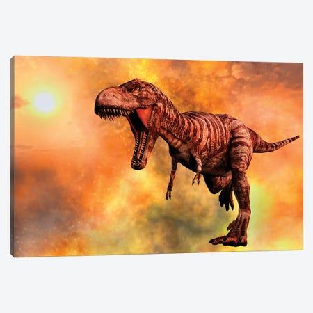 Tyrannosaurus Rex Running From A Deadly Fire Storm Canvas Print #TRK2693} by Mark Stevenson Canvas Art Print