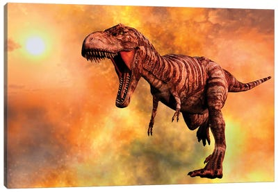 Tyrannosaurus Rex Running From A Deadly Fire Storm Canvas Art Print