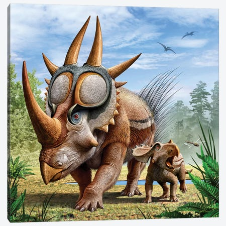 A Rubeosaurus And His Offspring Canvas Print #TRK2695} by Mohamad Haghani Canvas Artwork