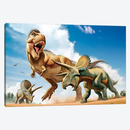 Tyrannosaurus Rex Fighting With Two Triceratops Canvas Print #TRK2697} by Mohamad Haghani Canvas Art