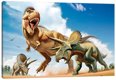 Tyrannosaurus Rex Fighting With Two Triceratops Canvas Art Print