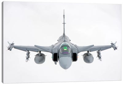 A Hungarian Air Force JAS-39 Gripen Over Lithuania Canvas Art Print