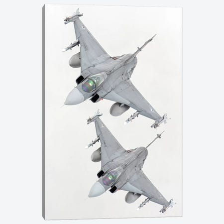 A Pair Of Hungarian Air Force JAS-39 Gripen Over Lithuania Canvas Print #TRK270} by Giovanni Colla Canvas Artwork