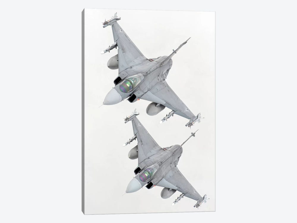 A Pair Of Hungarian Air Force JAS-39 Gripen Over Lithuania by Giovanni Colla 1-piece Art Print