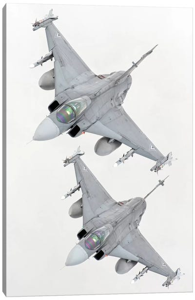 A Pair Of Hungarian Air Force JAS-39 Gripen Over Lithuania Canvas Art Print
