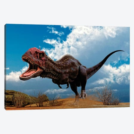 A Majungasaurus Breaks Into A Run Upon Seeing Prey Canvas Print #TRK2717} by Philip Brownlow Canvas Art Print