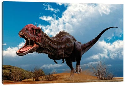 A Majungasaurus Breaks Into A Run Upon Seeing Prey Canvas Art Print