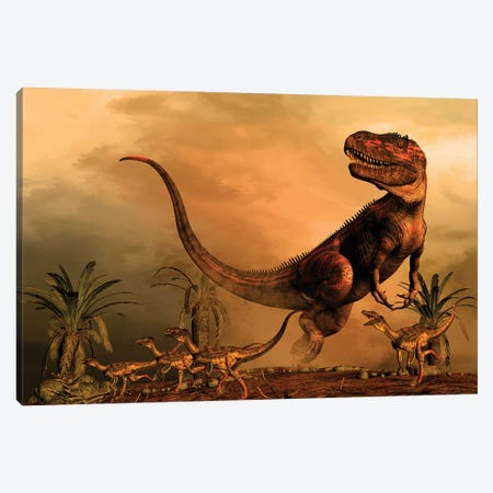 A Torvosaurus On The Prowl While A Group Of Ornitholestes Flee A Hasty Retreat Canvas Print #TRK2718} by Philip Brownlow Canvas Art