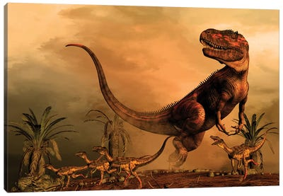 A Torvosaurus On The Prowl While A Group Of Ornitholestes Flee A Hasty Retreat Canvas Art Print