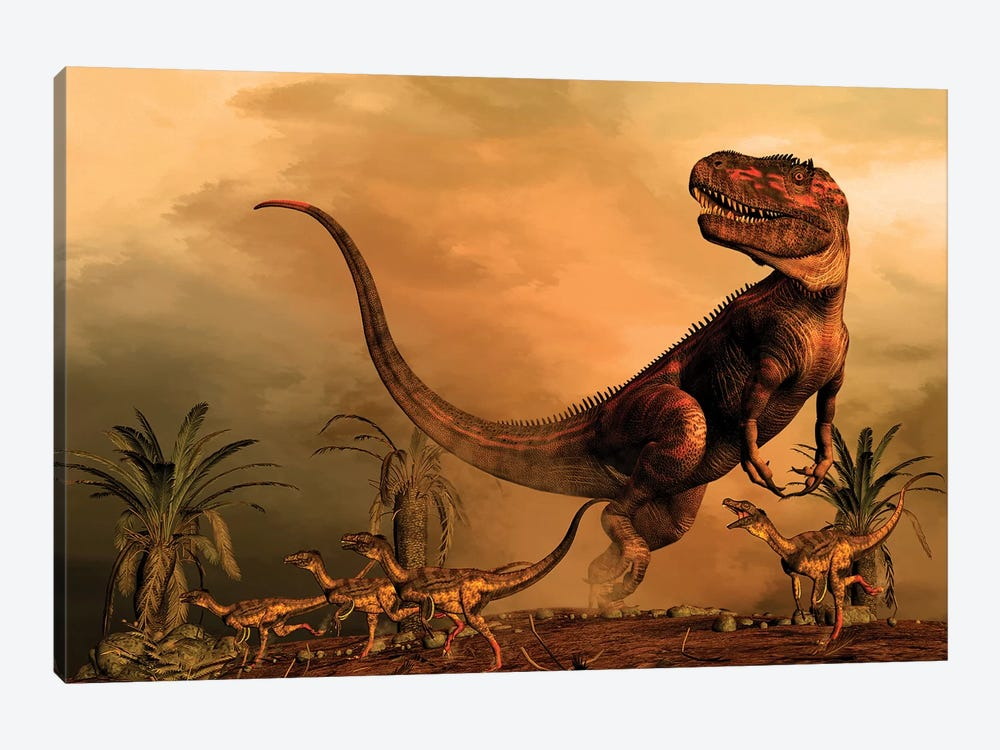A Torvosaurus On The Prowl While A Group Of Ornitholestes Flee A Hasty Retreat by Philip Brownlow 1-piece Canvas Print