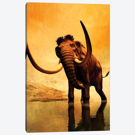 A Woolly Mammoth In A Dramatic Frozen Sunset Canvas Print #TRK2719} by Philip Brownlow Canvas Art