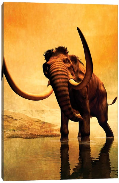 A Woolly Mammoth In A Dramatic Frozen Sunset Canvas Art Print