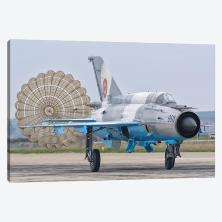 A Romanian Air Force MiG-21C With Parachute Deployed Canvas Print #TRK271} by Giovanni Colla Canvas Wall Art