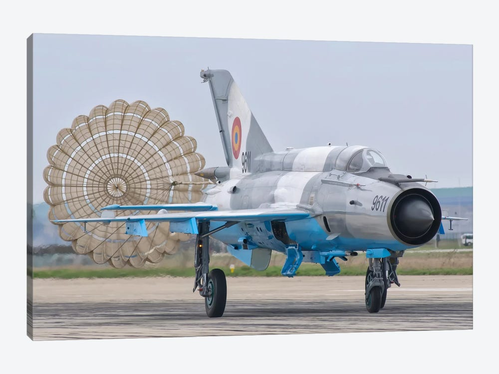 A Romanian Air Force MiG-21C With Parachute Deployed by Giovanni Colla 1-piece Canvas Artwork