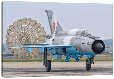 A Romanian Air Force MiG-21C With Parachute Deployed Canvas Art Print