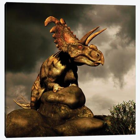 Albertaceratops Surveys The Land 3-Piece Canvas #TRK2720} by Philip Brownlow Art Print