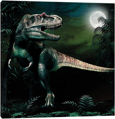 Albertosaurus Hunts By Moonlight Canvas Art Print