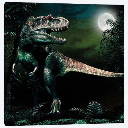 Albertosaurus Hunts By Moonlight 3-Piece Canvas #TRK2721} by Philip Brownlow Canvas Art Print