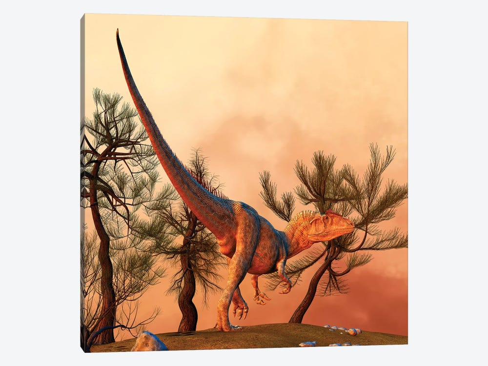 Allosaurus, A Large Theropod Dinosaur From The Late Jurassic Period by Philip Brownlow 1-piece Canvas Art