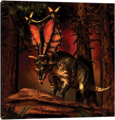 Chasmosaurus Was A Ceratopsid Dinosaur From The Upper Cretaceous Period Canvas Art Print