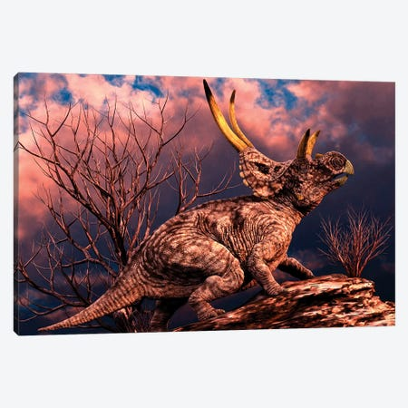 Diabloceratops Was A Ceratopsian Dinosaur From The Cretaceous Period Canvas Print #TRK2725} by Philip Brownlow Canvas Wall Art