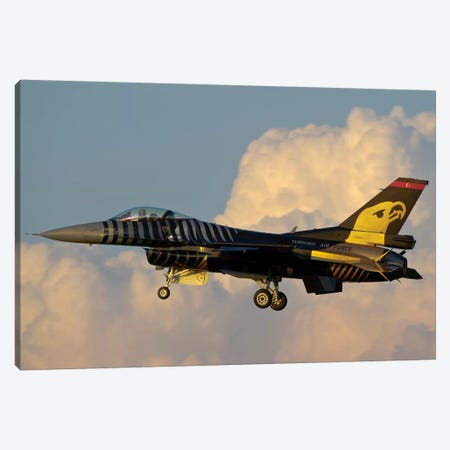 A Solo Turk F-16 Of The Turkish Air Force With A Custom Paint Scheme Canvas Print #TRK272} by Giovanni Colla Canvas Art