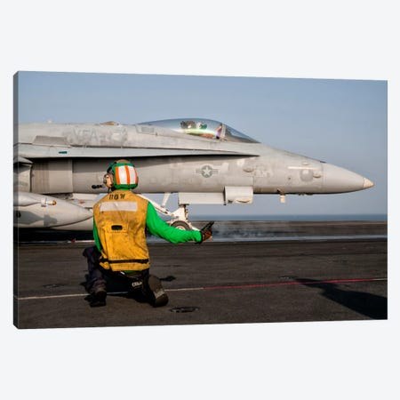An F/A-18C Is Ready To Launch From The Flight Deck Of USS Eisenhower Canvas Print #TRK276} by Giovanni Colla Canvas Print