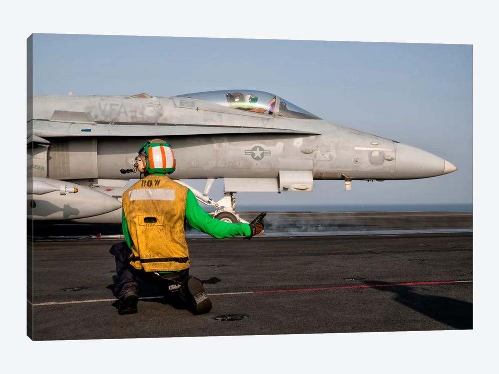 An F/A-18C Is Ready To Launch From The Flight Deck Of USS Eisenhower by Giovanni Colla 1-piece Art Print