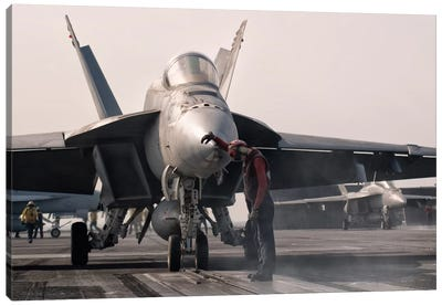 An F/A-18E Super Hornet Is Guided Into Catapult Aboard USS George H.W. Bush Canvas Art Print