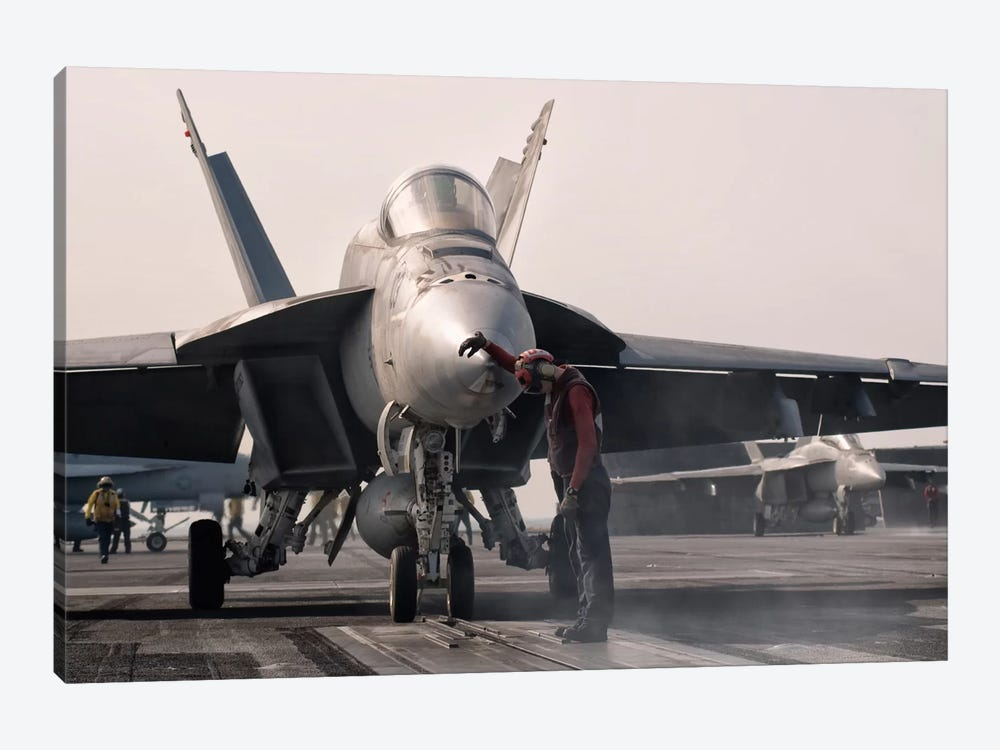 An F/A-18E Super Hornet Is Guided Into Catapult Aboard USS George H.W. Bush by Giovanni Colla 1-piece Canvas Artwork